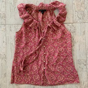 BR 100% SILK Sleeveless Button Up w/Ruffle Collar
